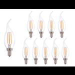 Voordeelpak 10 stuks - Dimbare led lamp vlam - Filament - E14 fitting C37 - 5W vervangt 45W - 2700K warm wit licht