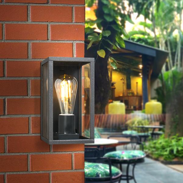 Wandlamp industrieel  - Rechthoek Zwart - IP44 Buitengebruik - E27 aansluiting