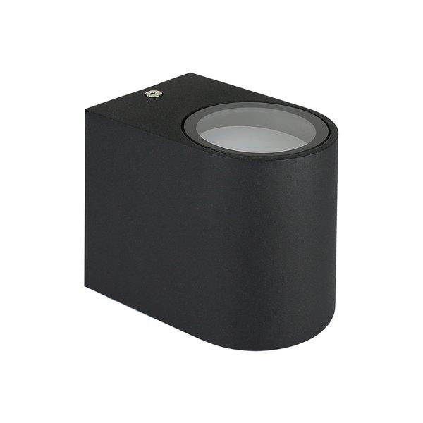LED Wandlamp Halfrond Zwart - GU10 fitting - IP44 - Geschikt voor 1 GU10 spot