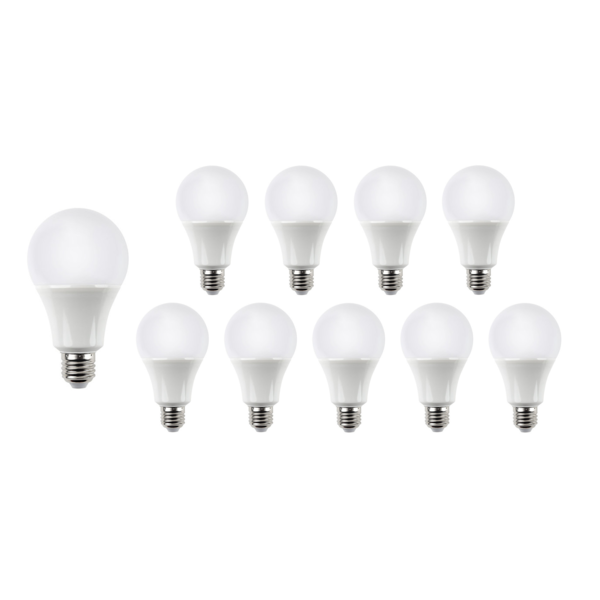 Voordeelpak 10 stuks - E27 LED lampen - Type A60 - 9W vervangt 70W - Lichtkleur optioneel
