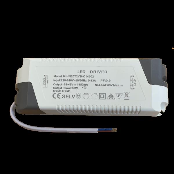LED paneel driver flikkervrij - 60W 28-48V 1450mA - Niet dimbaar