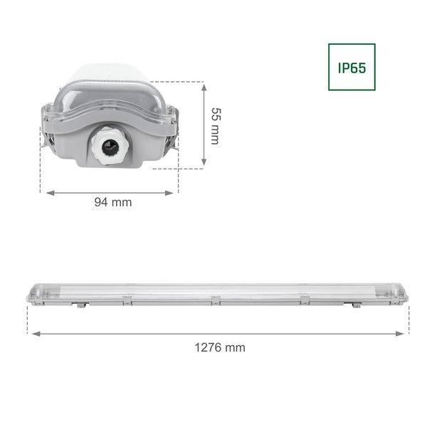 120cm LED armatuur IP65 + 2 LED TL buizen 18W p/s - 3000K 830 warm wit licht -  Compleet