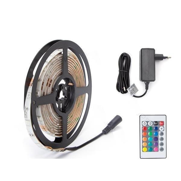 LED strip - RGB 3m 24W - 30 LEDs p/m - Incl. 24-knops IR afstandsbediening - Complete set
