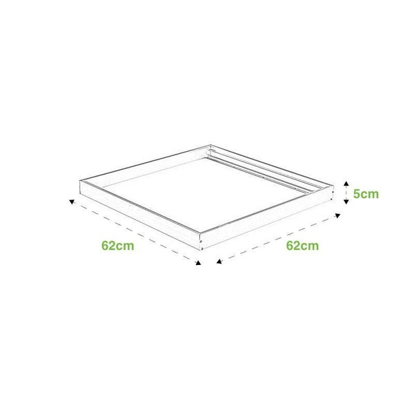 LED paneel opbouw 62x62cm  - 36W 100lm p/w - 4000K helder wit licht - Compleet