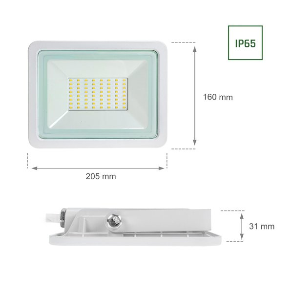 Spectrum LED schijnwerper Wit - 50W IP65 - Lichtkleur optioneel - 3 jaar garantie