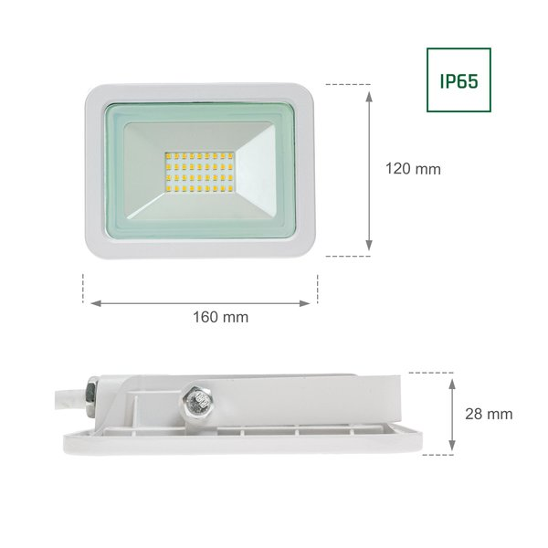 Spectrum LED schijnwerper Wit - 30W IP65 - Lichtkleur optioneel - 3 jaar garantie