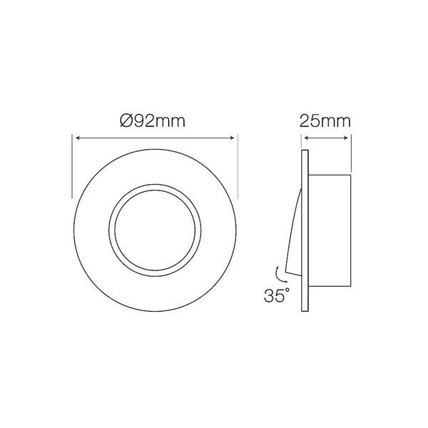 Inbouwspot geborsteld aluminium rond - kantelbaar - zaagmaat 75mm - buitenmaat 92mm