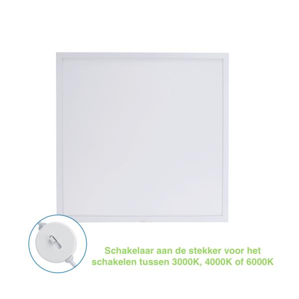 LED paneel 60x60cm Backlit - 32W 3840lm - CCT 3 Lichtkleuren in 1 - Flikkervrij - 3 jaar garantie