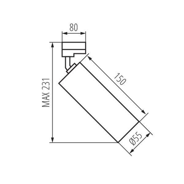 Kanlux LED GU10 railspot zwart - 3-Fase universeel - Enkelvoudig voor 1 LED GU10 spot