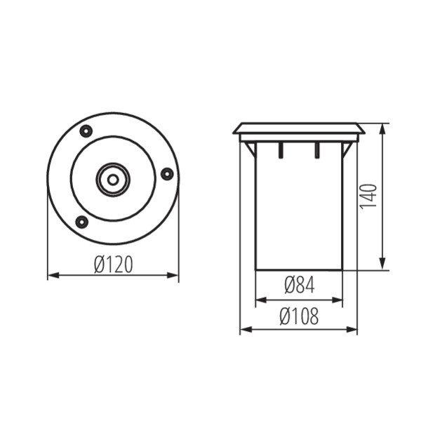 Kanlux LED GU10 grondspot RVS rond IP67 - Enkelvoudig voor 1 LED GU10 spot