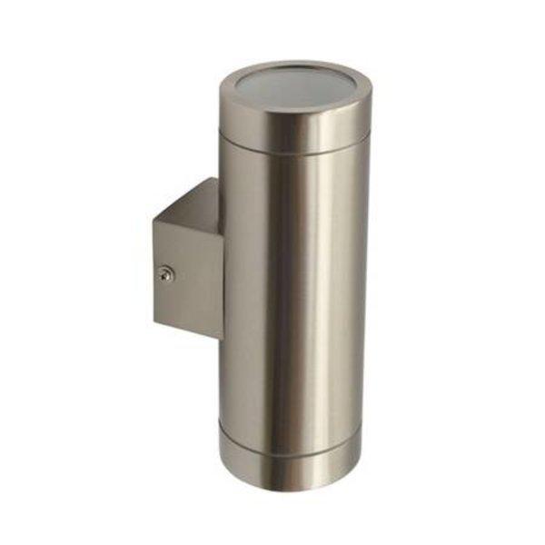 Kanlux LED wandlamp RVS satijn nikkel IP44 - Dubbelvoudig voor 2 LED GU10 spots