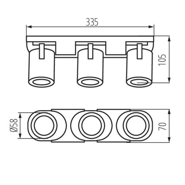 Kanlux LED GU10 plafond - wandspot zwart - Drievoudig voor 3 LED GU10 spots