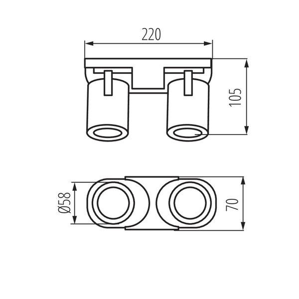 Kanlux LED GU10 plafond - wandspot zwart - Dubbelvoudig voor 2 LED GU10 spots