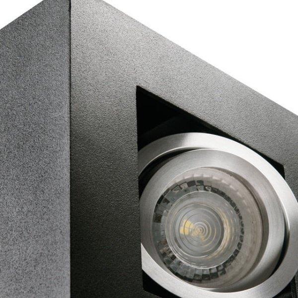 Kanlux LED GU10 plafondspot armatuur zwart - Viervoudig voor 4 LED GU10 spots