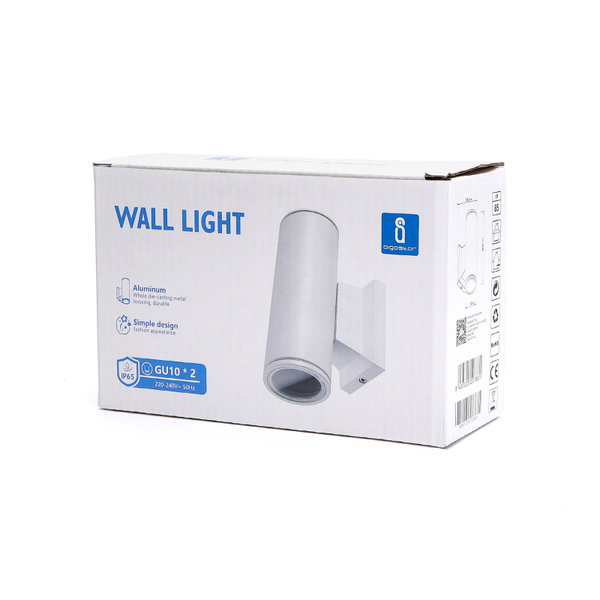 LED GU10 ronde wandlamp wit IP65 - Dubbelvoudig voor 2 LED GU10 spots
