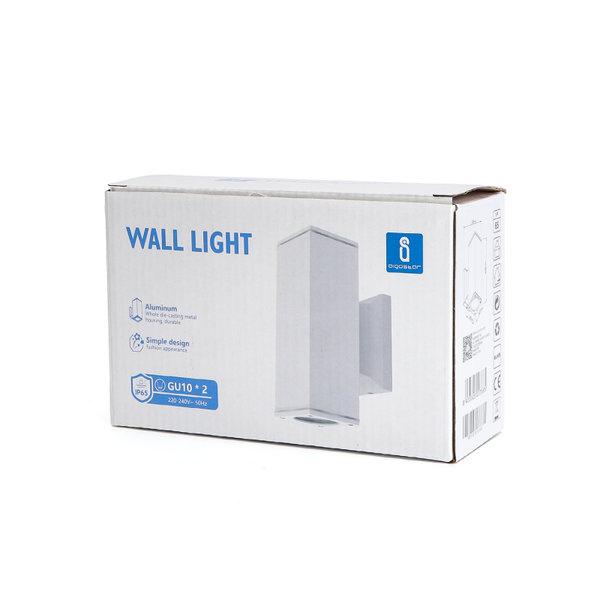 LED GU10 vierkante wandlamp wit IP65 Dubbelvoudig voor 2 LED GU10 spots