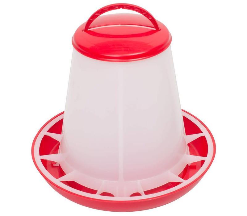 Voerhopper MET deksel inhoud 1 kg (rood/wit)