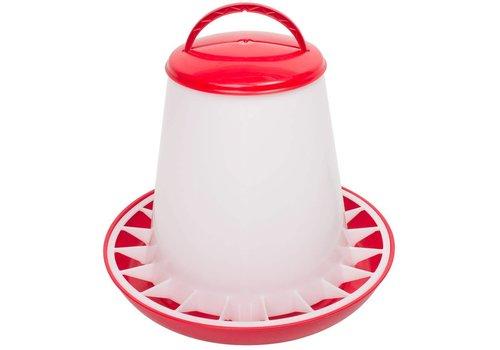 Olba Voerhopper MET deksel inhoud 6 kg (rood/wit)