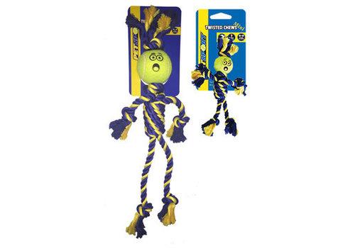 Pet Sport Braided Cotton Rope Rasta Man with Tuff Ball (6cm)