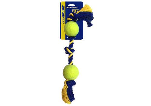 Pet Sport Medium 3-Knot Cotton Rope with 2 Tuff Balls (6cm)