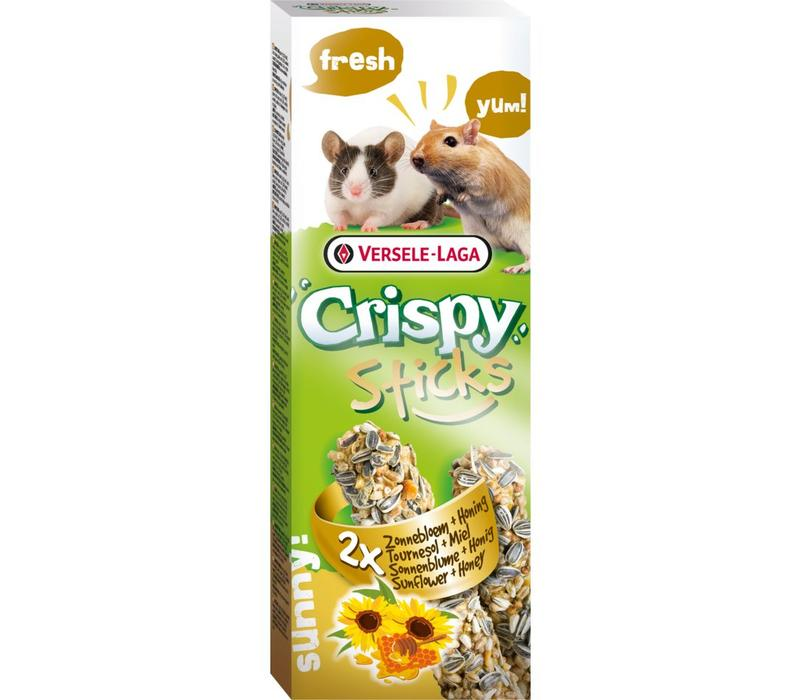 Versele-Laga Crispy   Sticks gerbil&muis zonnebloem   2x55 g   Natuur
