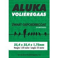Aluka Gaas 25,4 x 25,4 x 1,75 mm Gepoedercoat gaas (Zwart) 25m