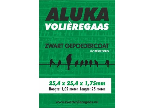 Aluka Aluka Gaas 25,4 x 25,4 x 1,75 mm Gepoedercoat gaas (Zwart) 25m