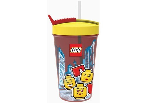Drinking Bottle with Straw  LEGO Iconic: girl