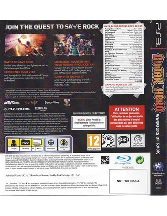 GUITAR HERO WARRIORS OF ROCK voor Playstation 3 PS3