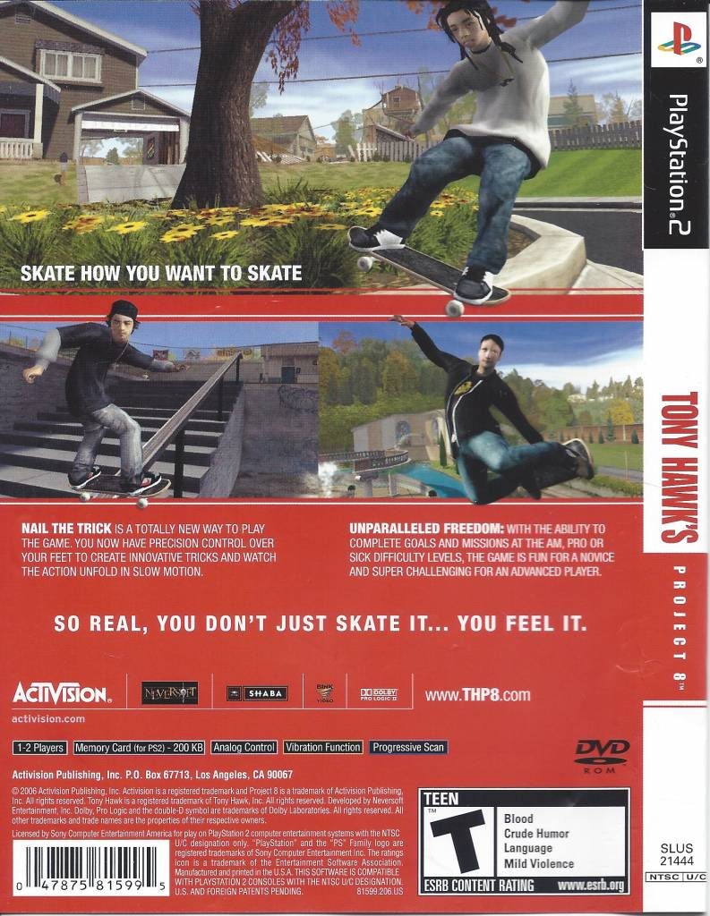 Tony Hawk's Project 8 for Playstation 2 PS2 - Passion for