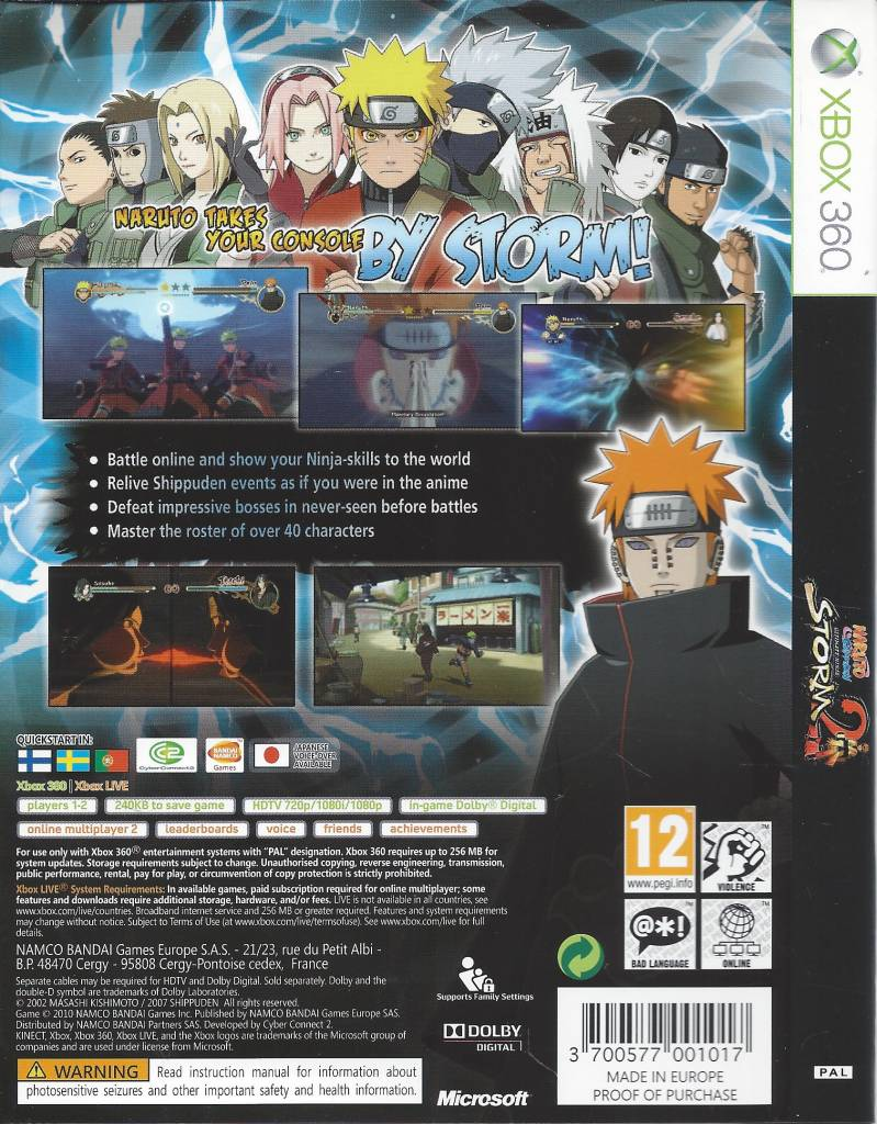 Naruto Shippuden Ultimate Ninja Storm 2 - Xbox 360 PAL CIB