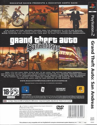 GRAND THEFT AUTO GTA SAN ANDREAS for Playstation 2 PS2