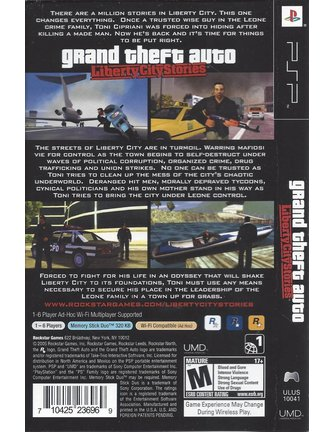 GRAND THEFT AUTO GTA LIBERTY CITY STORIES for PSP