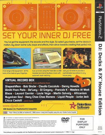 DJ DECKS & FX HOUSE EDITION for Playstation 2 PS2