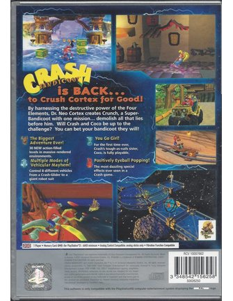 CRASH BANDICOOT THE WRATH OF CORTEX voor Playstation 2 PS2