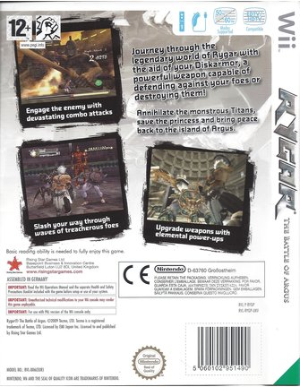 RYGAR THE BATTLE OF ARGUS for Nintendo Wii