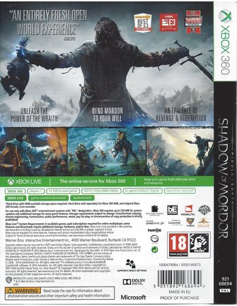 MIDDLE-EARTH SHADOW OF MORDOR for Xbox 360