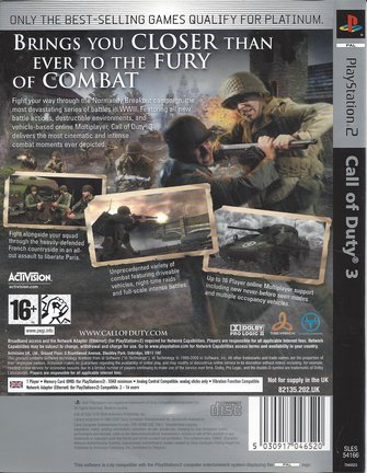 CALL OF DUTY 3 for Playstation 2 PS2 - Platinum