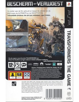 TRANSFORMERS THE GAME voor PSP