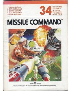 MANUAL für ATARI 2600 GAME CARTRIDGE MISSILE COMMAND
