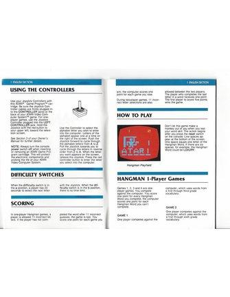 HANDBUCH für Atari 2600 Spielkassette HANGMAN