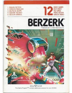 MANUAL for ATARI 2600 GAME CARTRIDGE BERZERK