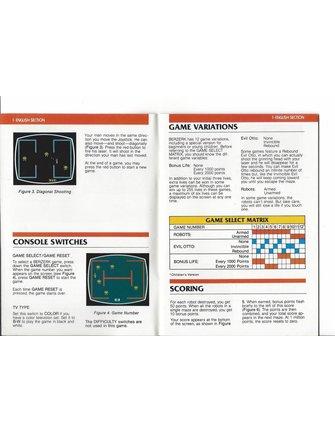 MANUAL for ATARI 2600 GAME CARTRIDGE BERZERK