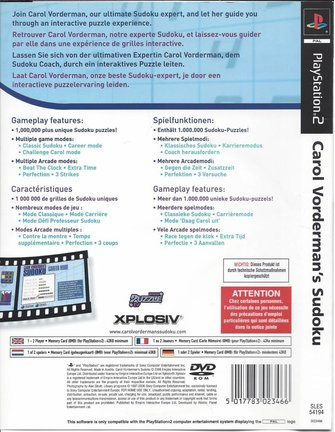 CAROL VORDERMAN'S SUDOKU voor Playstation 2 PS2