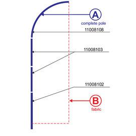 Pole: Flag straight 460-85 - Aluminium