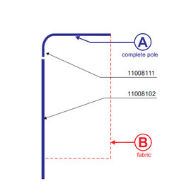 Pole: Flag square 160-65 - Aluminium
