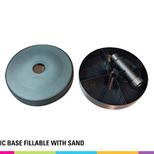 Plastic base fillable with sand