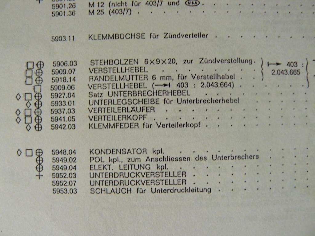SEV Marchal Contactpunten SEV voor 203 en 403