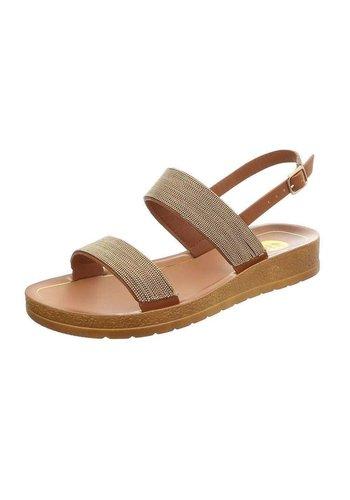 D5 Avenue Flache Sandalen für Damen - Kamel mit Ketten an den Bändern