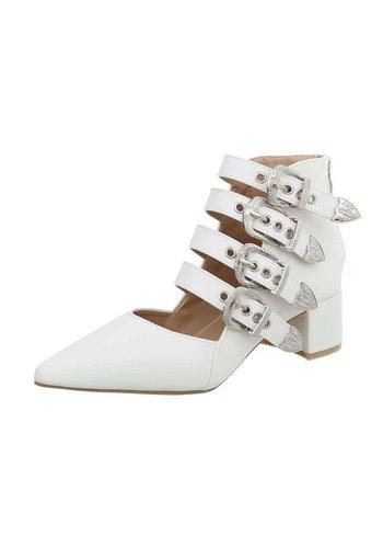 D5 Avenue Damensandalen - Weiß mit Blockabsatz